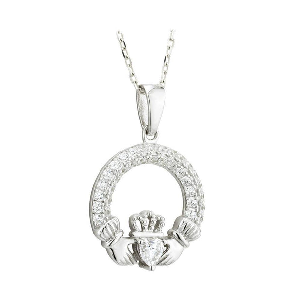 APRIL Birthstone Silver Claddagh Pendant S46117-4 - Uctuk