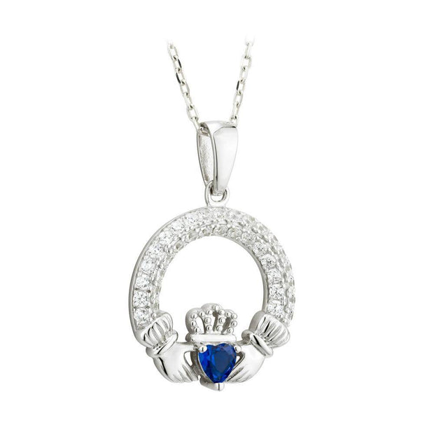 SEPTEMBER Birthstone Silver Claddagh Pendant S46117-9 - Uctuk