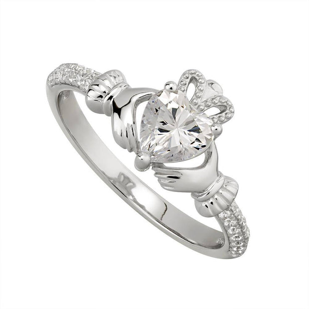 APRIL Birthstone Sterling Silver Claddagh Ring S-S21062-4 - Uctuk