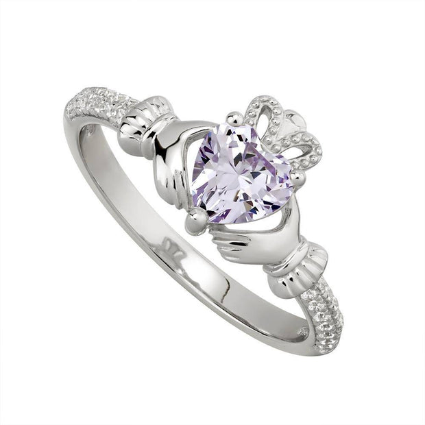 JUNE Birthstone Sterling Silver Claddagh Ring S-S21062-6 - Uctuk