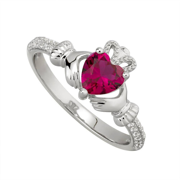 JULY Birthstone Sterling Silver Claddagh Ring S-S21062-7 - Uctuk