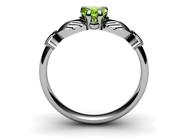 "PERIDOT PLATINUM Claddagh Ring <font color=""#FF0000""> IN STOCK!  Ships in 48 Hours!</font> - Uctuk"