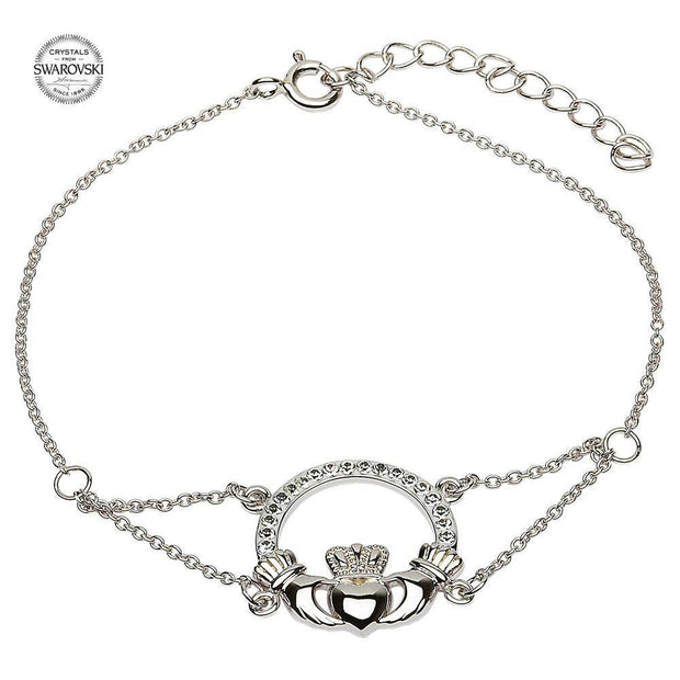 Sterling Silver Claddagh Bracelet Adorned With Swarovski Crystals SW49 - Uctuk
