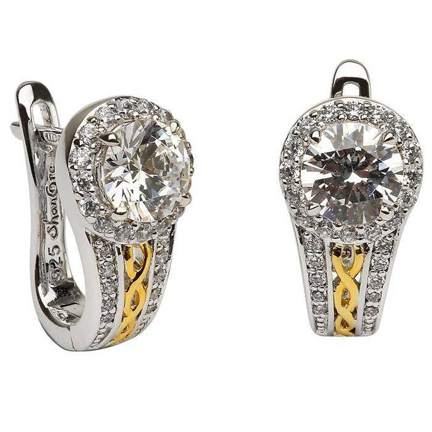 Retired Sterling Silver and Gold Plated White CZ Halo Earrings SE2098CZ - Uctuk