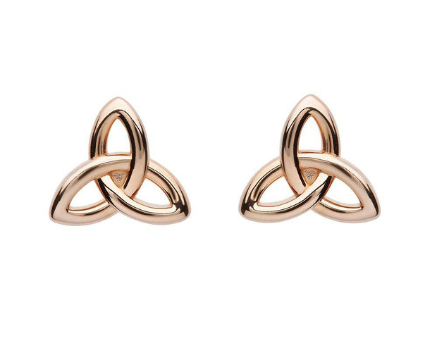 Sterling Silver Trinity Rose Gold Plated Stud Earrings SE2250 - Uctuk