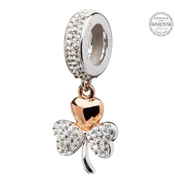 Tara's Diary Origin Rose Gold Plated Shamrock Encrusted With Swarovski Crystal - TD612 - Uctuk