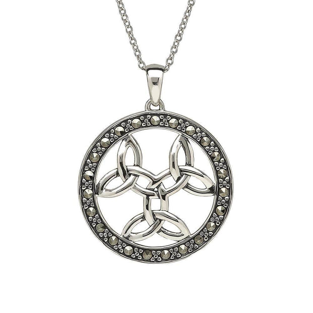 Sterling Silver Triple Trinity with Marcasite Pendant and Chain - ANU1092 - Uctuk