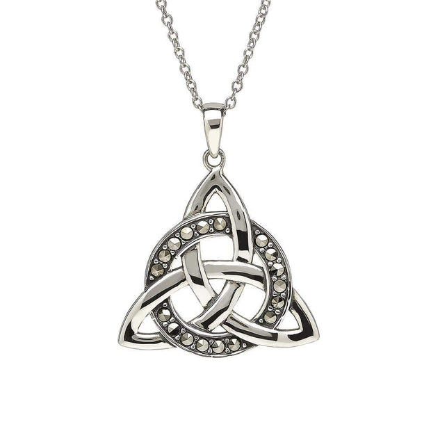 Sterling Silver Trinity Circle with Marcasite Pendant and Chain - ANU1093 - Uctuk