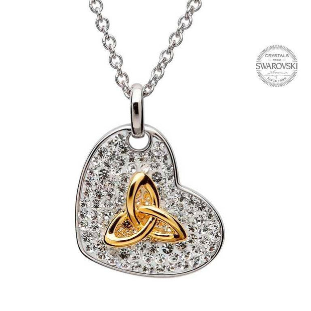 Sterling Silver Gold Plated Trinity Heart Pendant Embellished with White Swarovski Crystals SW16 - Uctuk