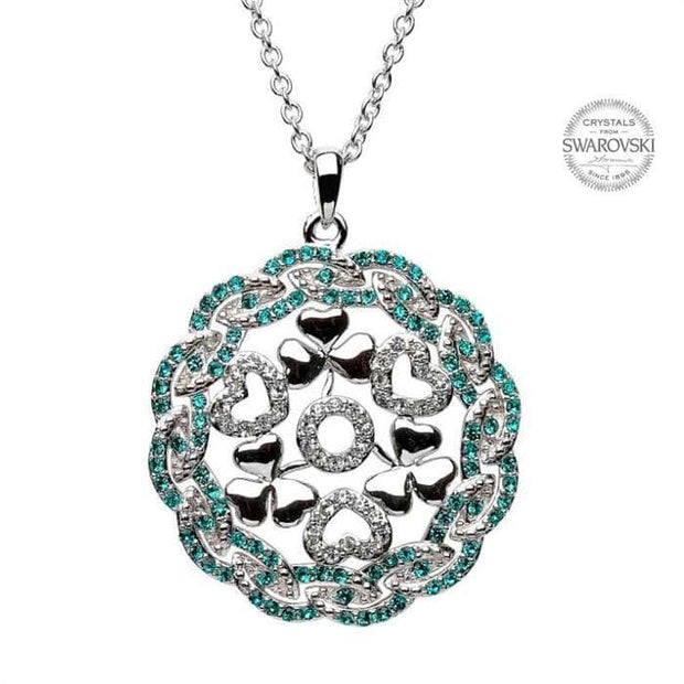 Sterling Silver Shamrock Heart Pendant Encrusted with Swarovski Crystals with Chain SW23 - Uctuk