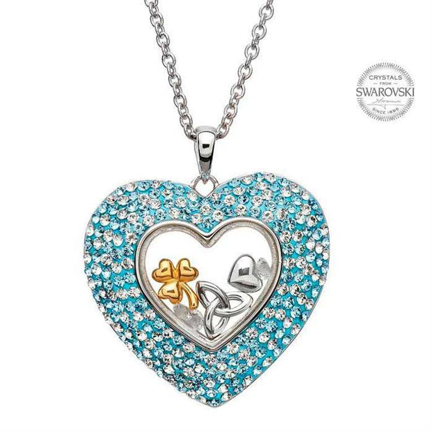 Sterling Silver Trinity Heart Pendant Encrusted with Swarovski Crystals with Chain SW31 - Uctuk