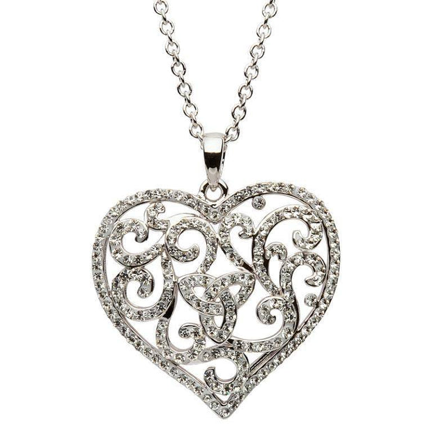 Sterling Silver Heart Trinity Pendant Encrusted With White Swarovski Crystals SW54 - Uctuk