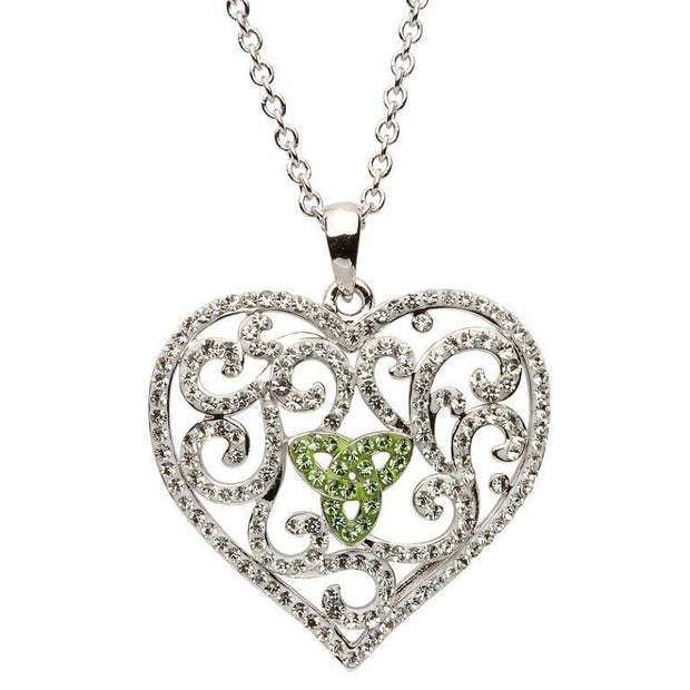 Sterling Silver Heart Trinity Pendant Encrusted With Green and White Swarovski Crystals SW55 - Uctuk