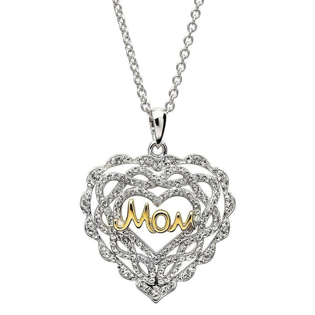 "Sterling Silver Heart ""Mom"" Pendant Encrusted With White Swarovski Crystals SW56 - Uctuk"