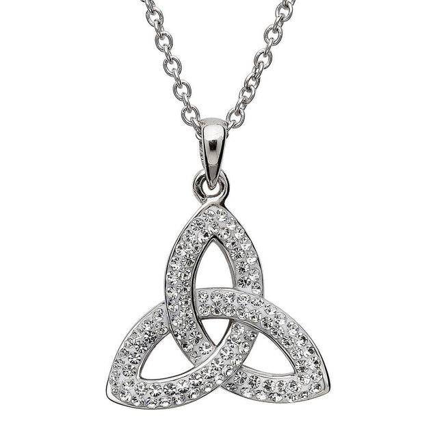 Sterling Silver Celtic Trinity Knot Pendant Adorned By Swarovski Crystals SW6 - Uctuk