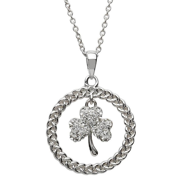 Retired Sterling Silver Celtic Shamrock Circle Pendant Adorned By Swarovski Crystals SW60 - Uctuk