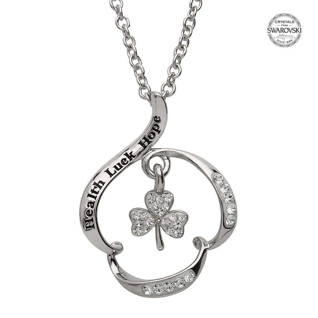 "Sterling Silver ""Health Luck Hope"" Shamrock Pendant Encrusted With Swarovski Crystal SW89 - Uctuk"