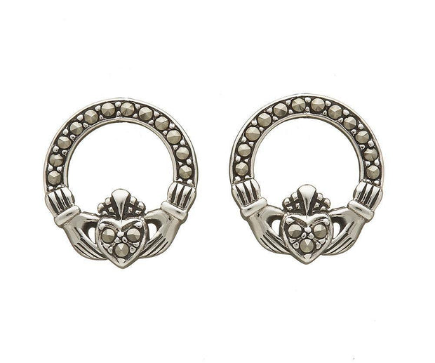 Sterling Silver Marcasite Claddagh Earrings - ANU2062 - Uctuk