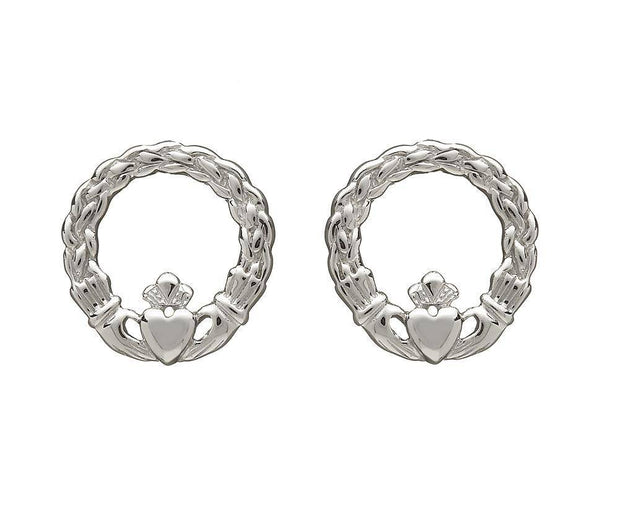 Sterling Silver Claddagh Earrings - ANU2065 - Uctuk