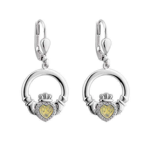 Sterling Silver Moving Gold Heart Claddagh Drop Earrings - S34032 - Uctuk