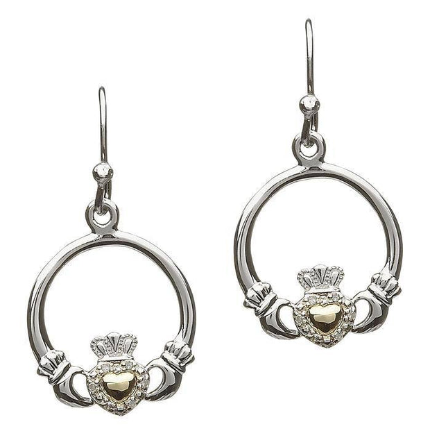 Sterling Silver and 10K Gold Claddagh Diamond Earrings SE-2059D - Uctuk