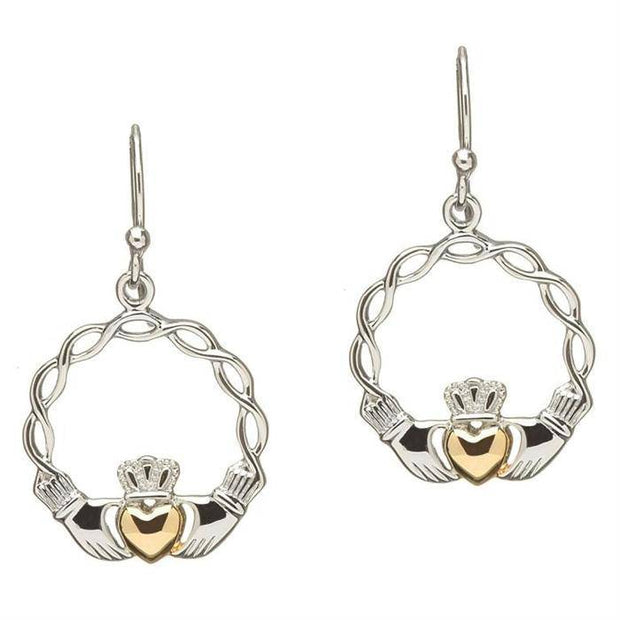 Sterling Silver and Gold Plated Celtic Wave Claddagh Earrings SE2046 - Uctuk
