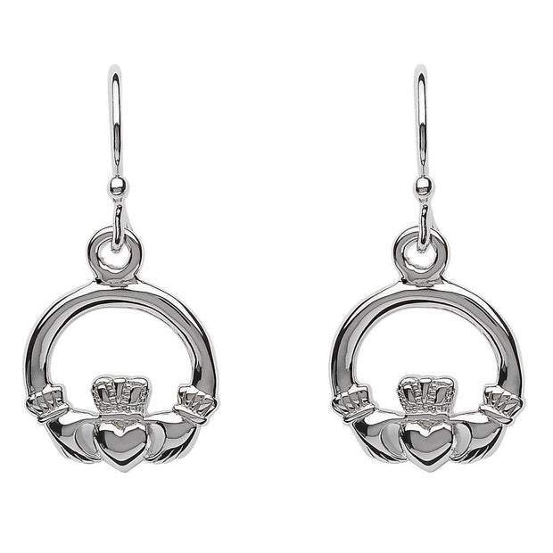 Sterling Silver Claddagh Drop Earrings SE2118 - Uctuk