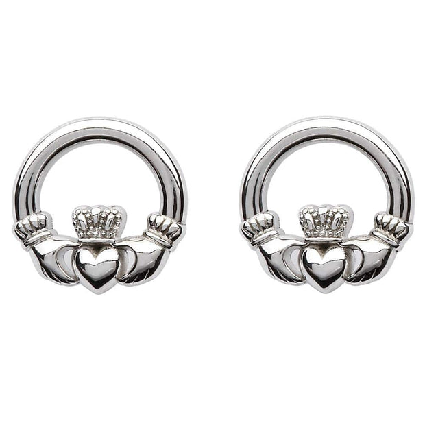 Sterling Silver Claddagh Stud Earrings SE2119 - Uctuk