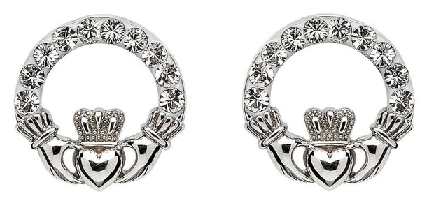 Sterling Silver Claddagh Earrings Adorned By Swarovski Crystals SW47 - Uctuk