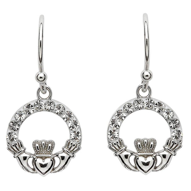 Sterling Silver Claddagh Earrings Adorned By Swarovski Crystals SW48 - Uctuk