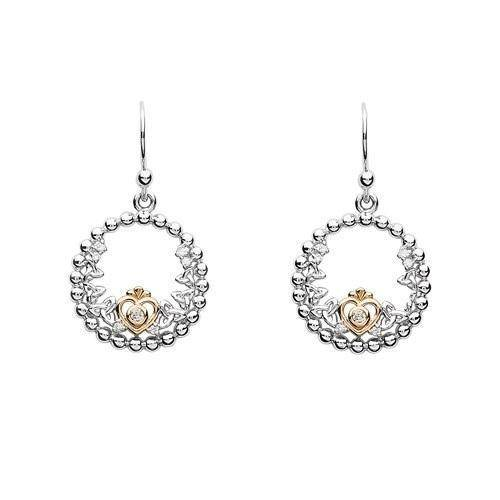 Tara's Diary Sterling Silver Trinity Princess CZ Earrings with Rose Gold Heart - TD237 - Uctuk