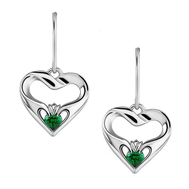 Sterling Silver Green CZ UES-16436GR Modern Claddagh Earrings - Uctuk