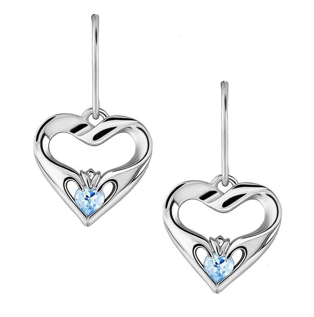 Sterling Silver Sky Blue CZ UES-16436SB Modern Claddagh Earrings - Uctuk