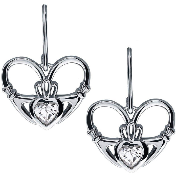 Sterling Silver Claddagh Earrings UES-6162 - Uctuk