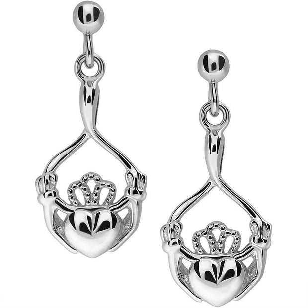 Sterling Silver Claddagh Earrings UES-6165 - Uctuk