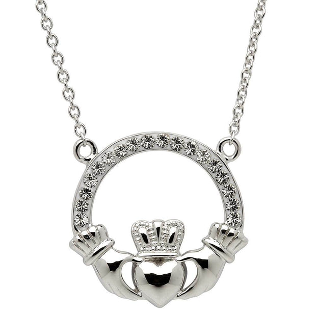 Sterling Silver Claddagh Necklace Embellished with White Swarovski Crystals SW46 - Uctuk