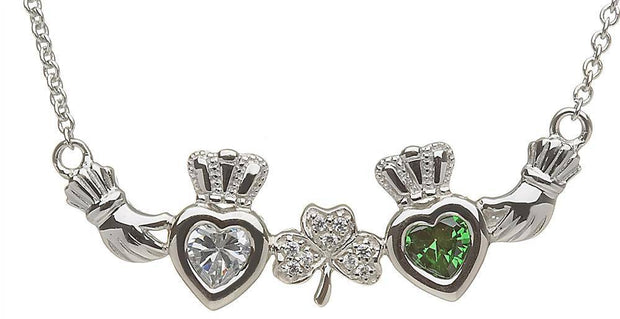 Mother & Family Claddagh & Shamrock Birthstone Pendant Necklace LS-MP2-S - Uctuk