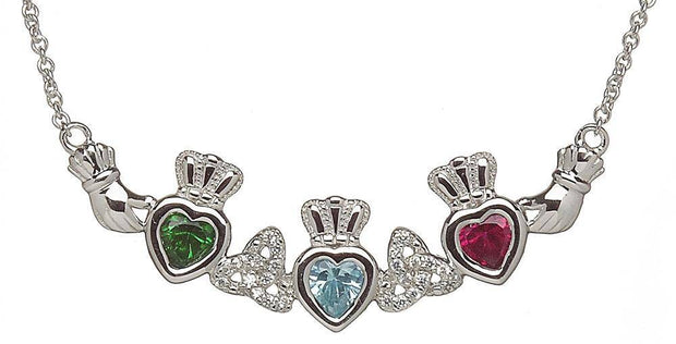 Mother & Family Claddagh & Trinity Birthstone Pendant Necklace LS-MP3-T - Uctuk