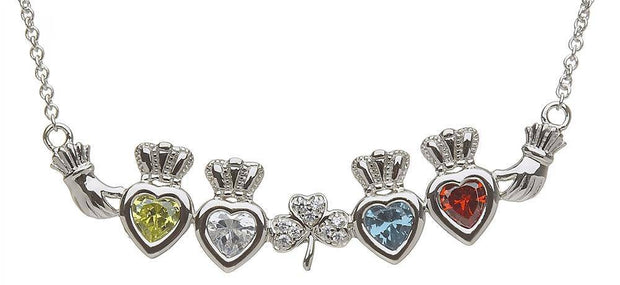 Mother & Family Claddagh & Shamrock Birthstone Pendant Necklace LS-MP4-S - Uctuk