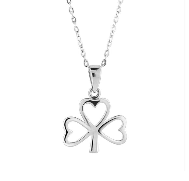 Silver Shamrock Pendant LS-SP3000 with Chain - Uctuk