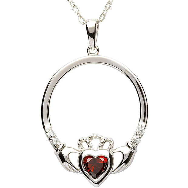 JANUARY Birthstone Silver Claddagh Pendant LS-SP91-1 - Uctuk