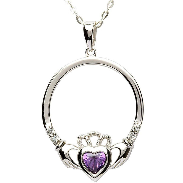 FEBRUARY Birthstone Silver Claddagh Pendant LS-SP91-2 - Uctuk