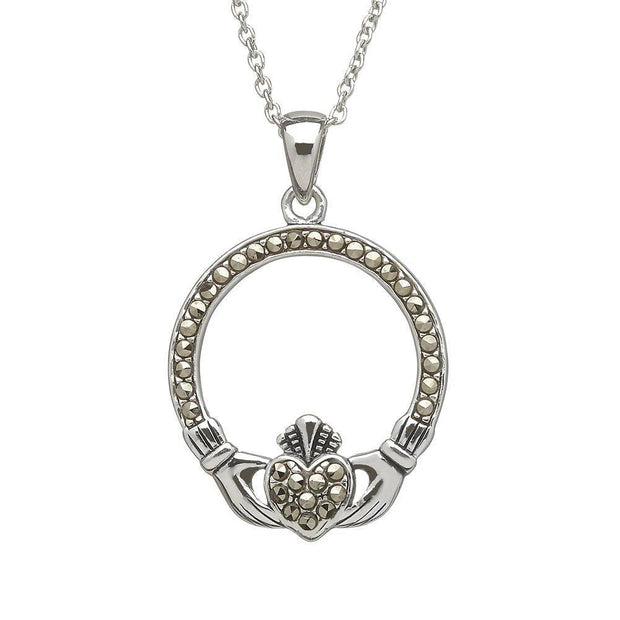 Sterling Silver Marcasite Claddagh Pendant with Chain - ANU1106 - Uctuk