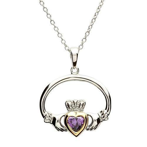 Retired Sterling Silver Claddagh Pendant with Gold Plating SP-1078AY - Uctuk