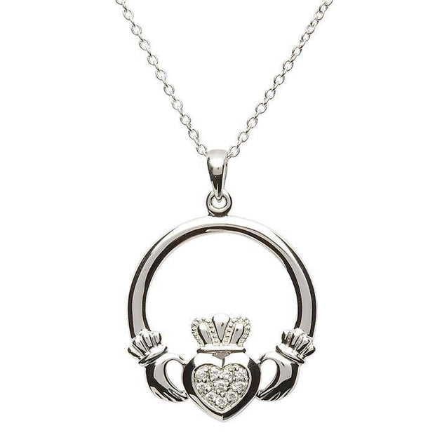 Retired Silver Claddagh Pendant SP-2056CZ - Uctuk
