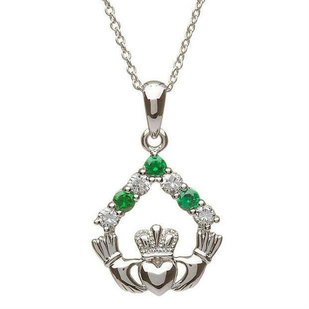 Sterling Silver Claddagh Stone Set Pendant SP2049 - Uctuk