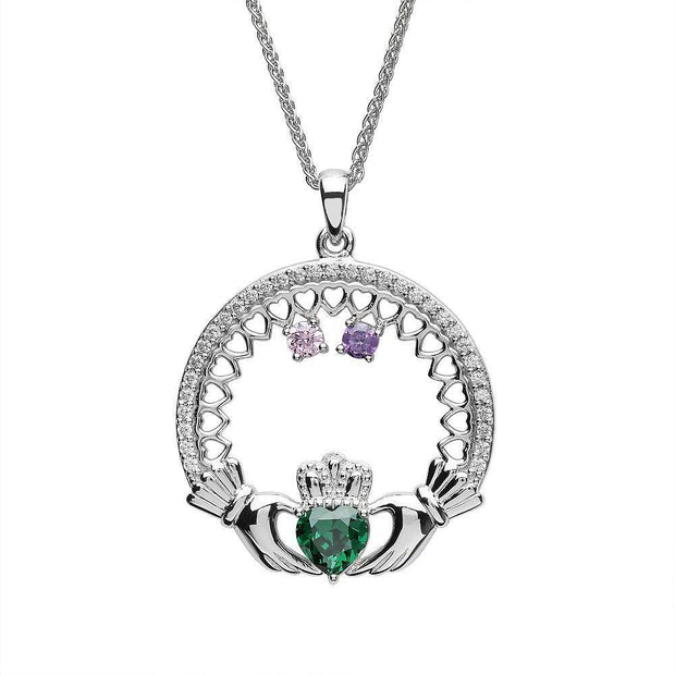 Irish Family Claddagh Birthstone Pendant Mother and 2 Children SP2246-2 - Uctuk