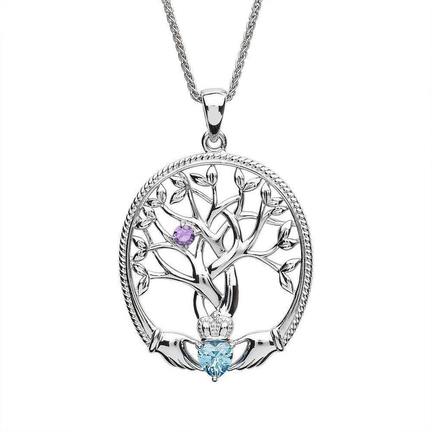 Irish Family Claddagh Tree of Life Birthstone Pendant Mother and Child - SP2247-1 - Uctuk