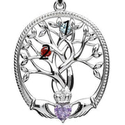 Irish Family Claddagh Tree of Life Birthstone Pendant Mother and 2 Children - SP2247-2 - Uctuk