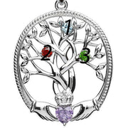 Irish Family Claddagh Tree of Life Birthstone Pendant Mother and 3 Children - SP2247-3 - Uctuk